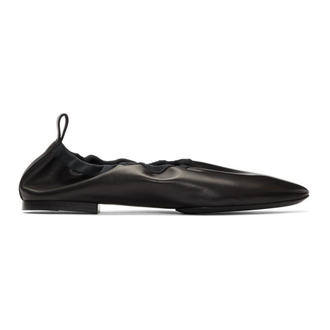 JIL SANDER | Jil Sander Black Leather Ballerina Flats | Goxip