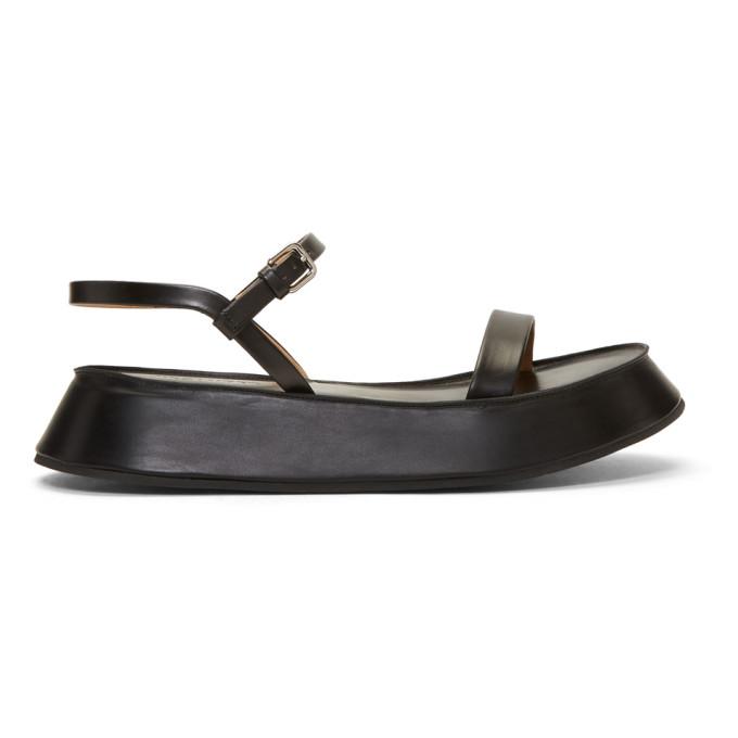 Jil Sander Black Flatform Sandals