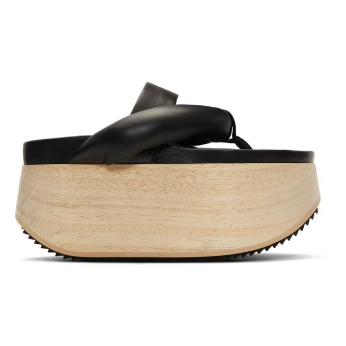 JIL SANDER | Jil Sander Black Wooden Platform Sandals | Goxip