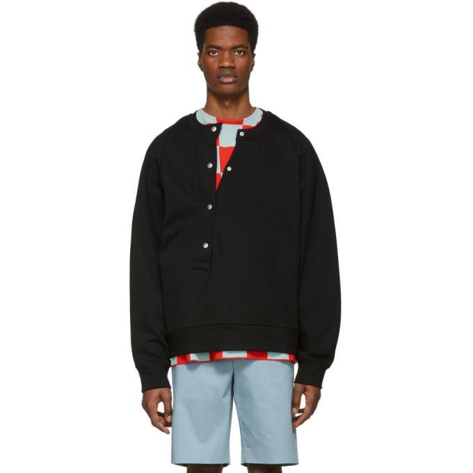 Image of Jil Sander Black Asymmetrical Button Sweatshirt