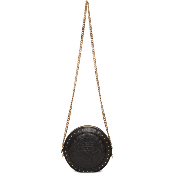2eaf96807d Balmain Disco Embossed Lambskin Leather Crossbody Bag In Black ...
