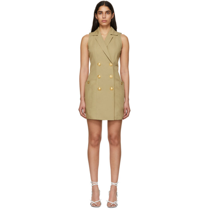 Image of Balmain Beige Double-Breasted Buttoned Mini Dress
