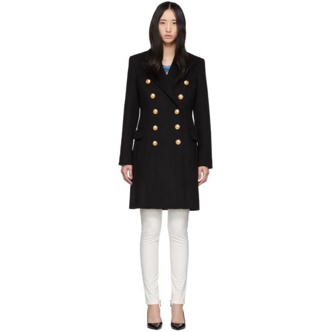 Balmain Manteau en laine noir