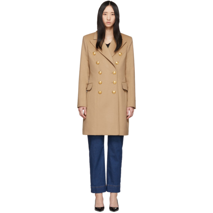 Image of Balmain Beige Double-Breasted Button Coat