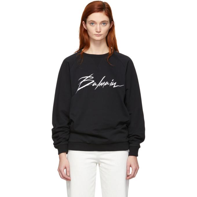 Balmain Black Signature Logo Sweatshirt in Eab Blk/Wht