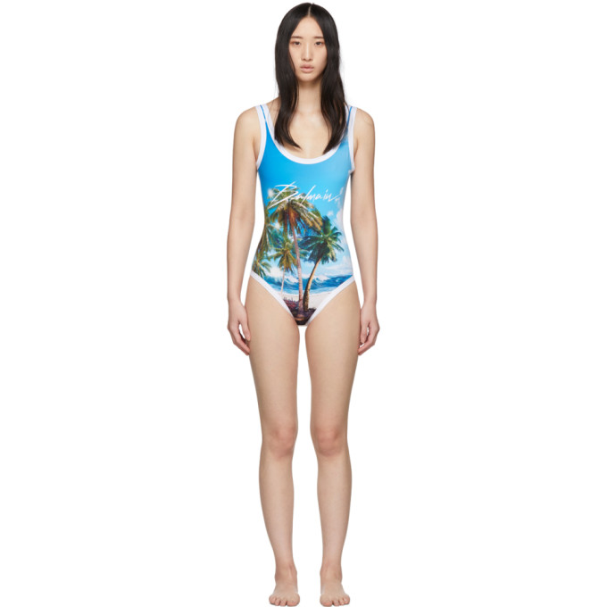 Balmain Maillot de bain une piece bleu Palm Beach