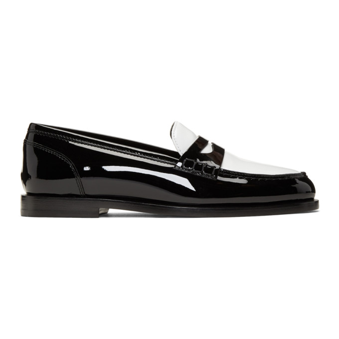 Balmain Black and White Kriss Loafers