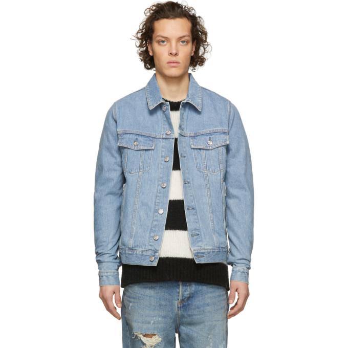 Balmain ブルー デニム コイン ロゴ ジャケット