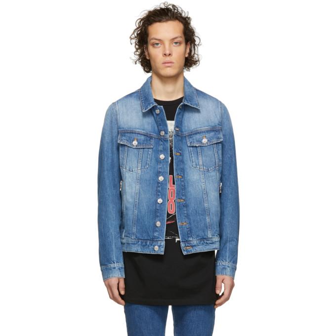 Balmain ブルー デニム ロゴ ジャケット