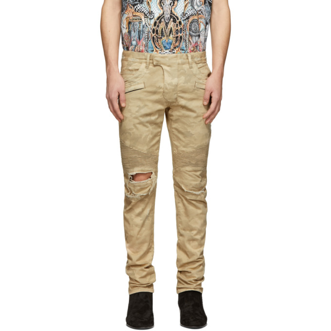 Image of Balmain Beige Ripped Military Biker Jeans