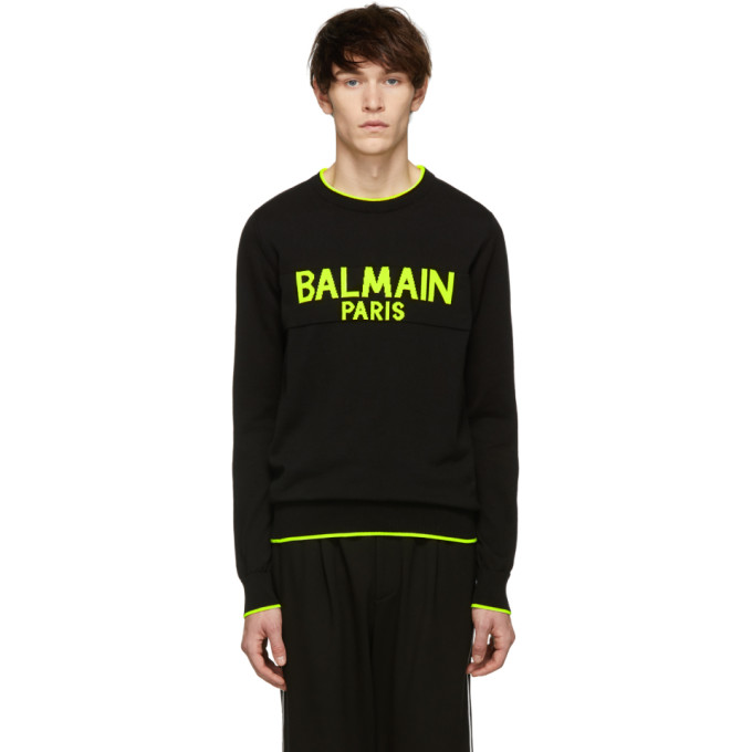 Balmain Black & Yellow Logo Sweater