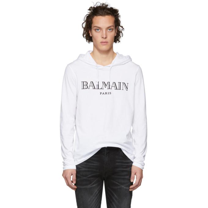 ab477643af Balmain White Logo Hoodie 191251M20200605