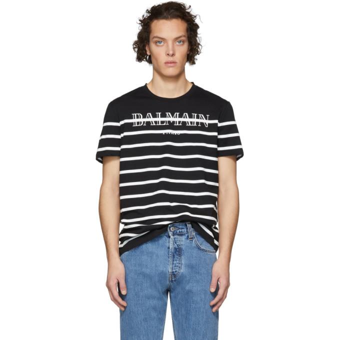 Balmain Black Striped Logo T-Shirt