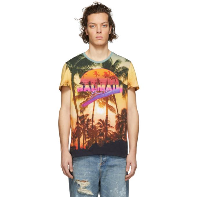Balmain Multicolor 'Beach Club' Logo T-Shirt