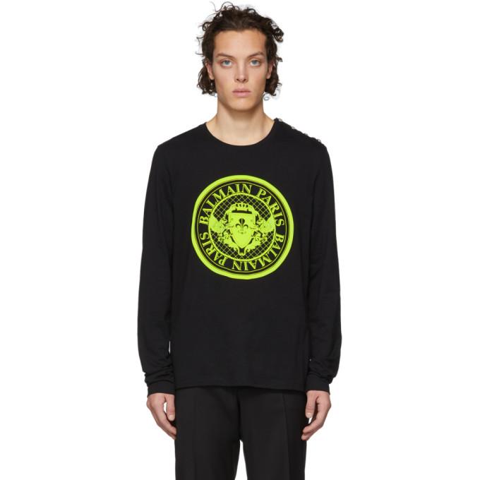 Balmain Black Medallion Logo Long Sleeve T-Shirt