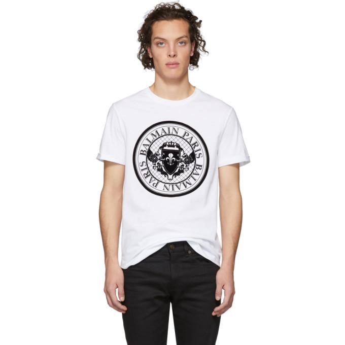 Balmain White Medallion T-Shirt