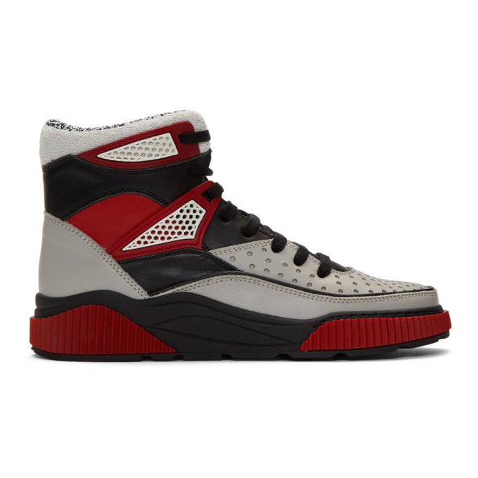 Balmain BALMAIN GREY AND BLACK KERY HIGH-TOP SNEAKERS