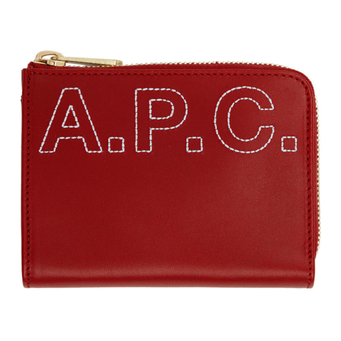 A.P.C. Red Embroidered Logo Lise Compact Wallet