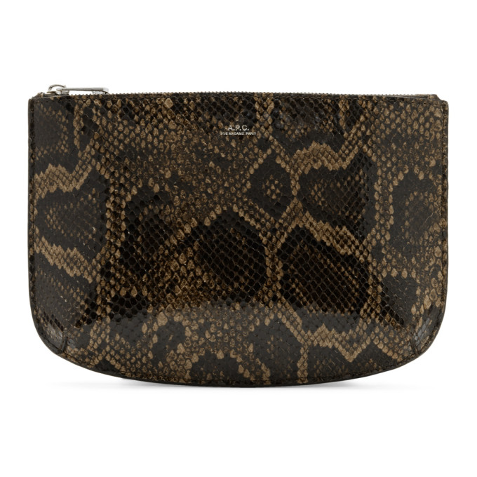 Sarah Snake Embossed Leather Clutch in Cae Marronf