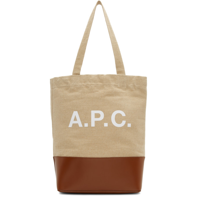 A.P.C. Brown and Beige Axel Tote