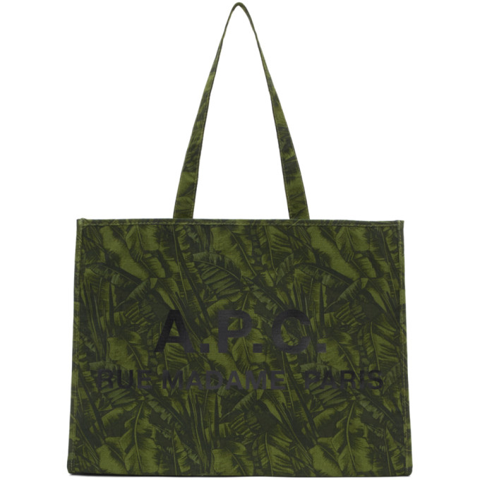 A.P.C. Green Jungle Mahe Shopping Tote