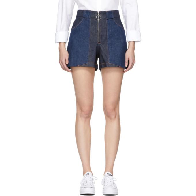 A.P.C. Indigo Denim Chrissie Shorts in Ial Indigod