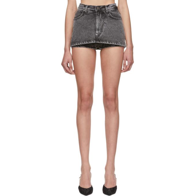 Pushbutton Shorts PUSHBUTTON BLACK MINI DENIM SKIRT SHORTS
