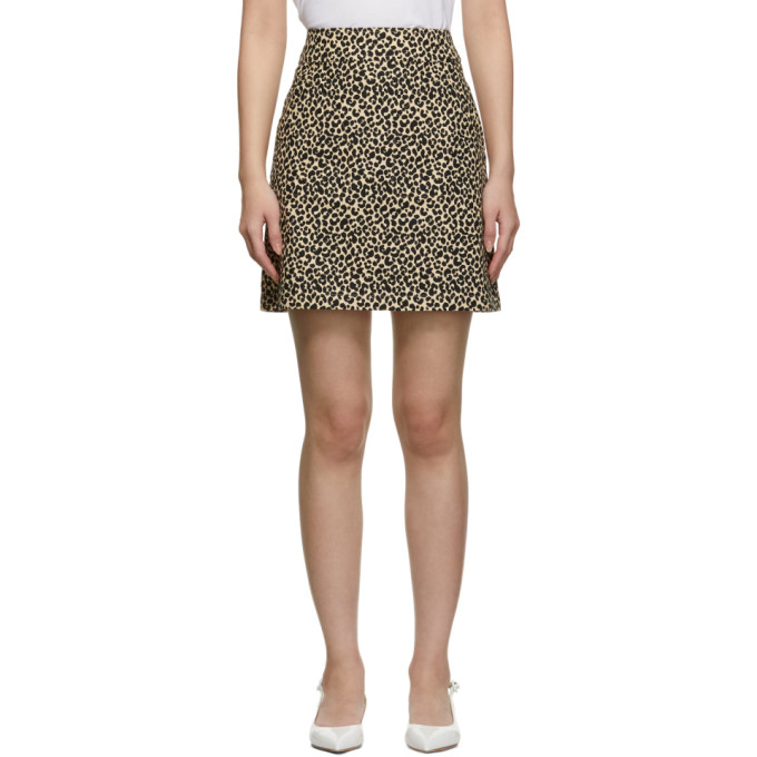 Image of A.P.C. Beige & Black Leopard Shanya Miniskirt