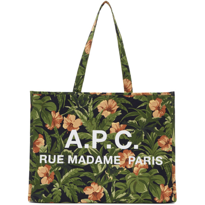 A.P.C. Green Hawaiian Mahe Shopping Tote