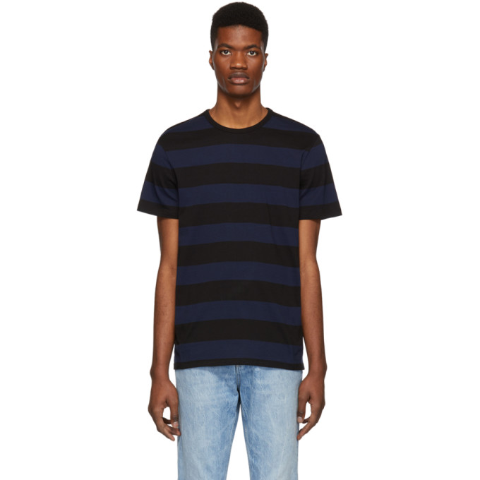 A.P.C. Black and Navy Striped Archie T-Shirt