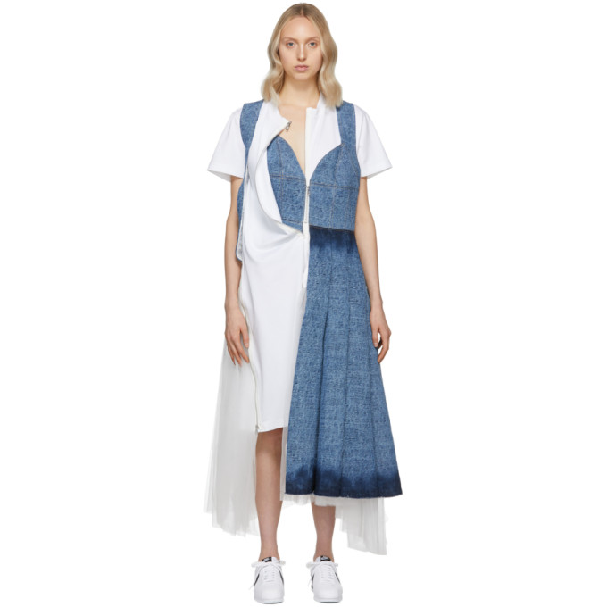 Junya Watanabe Indigo White Denim Tulle Mix Dress