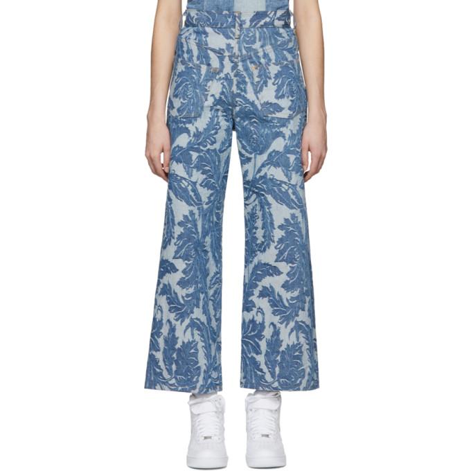 58164ad2ec911 Shop Junya Watanabe Indigo Backwards Jacquard Jeans In 1 Lgtindigo
