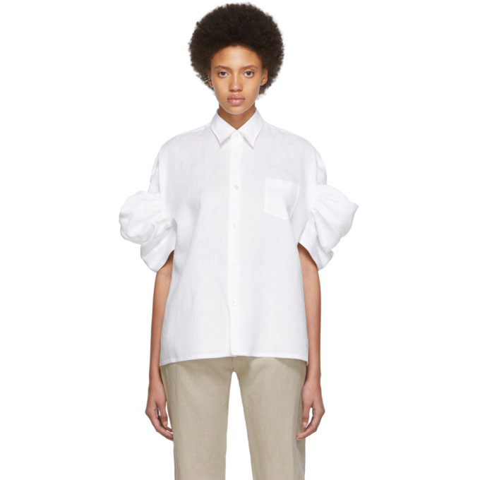 Junya Watanabe Chemise a manches courtes blanche Lawn