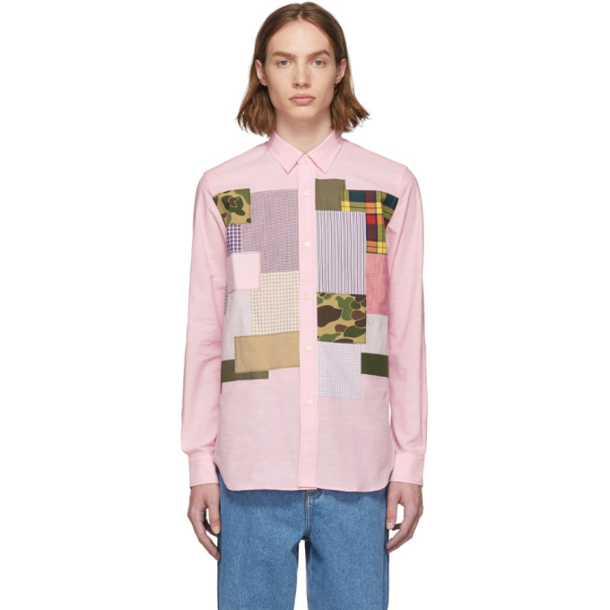 Junya Watanabe Chemise rose Multi Fabric Mix