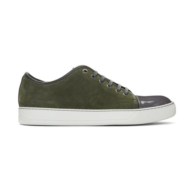 Lanvin Green Suede & Patent Cap Toe Sneakers