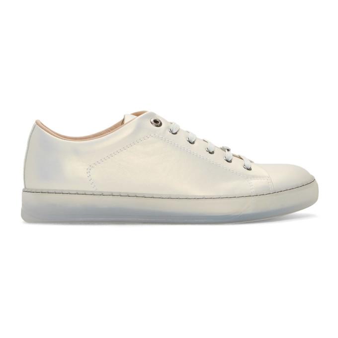 Lanvin Silver Leather Metallic Sneakers