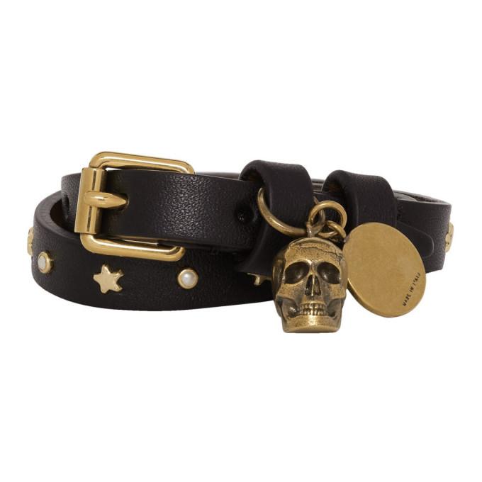 Alexander McQueen Black and Gold Wrap Star Skull Bracelet thumbnail