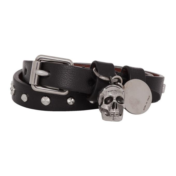 Alexander McQueen Black and Silver Wrap Stud Skull Bracelet thumbnail