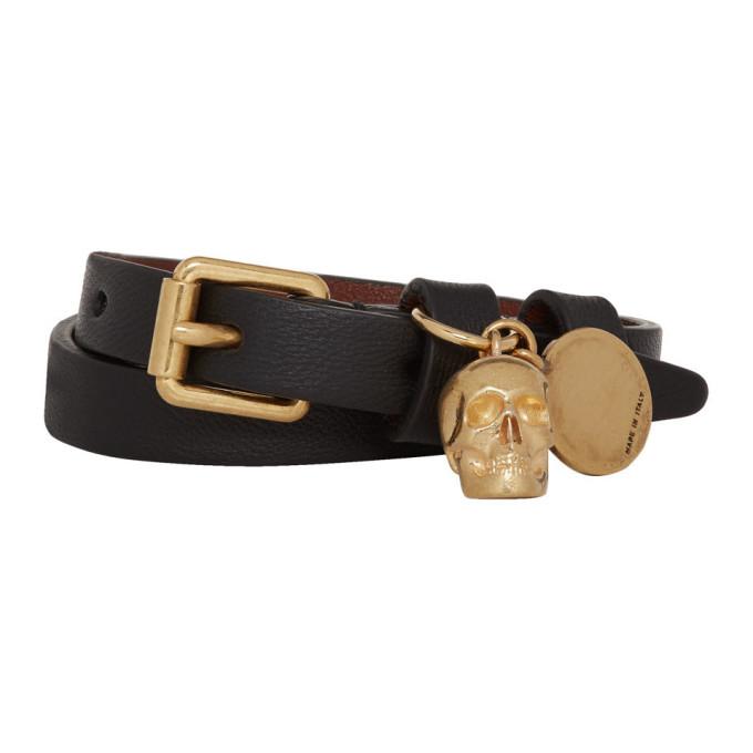 Alexander McQueen Black and Gold Double Wrap Skull Bracelet thumbnail