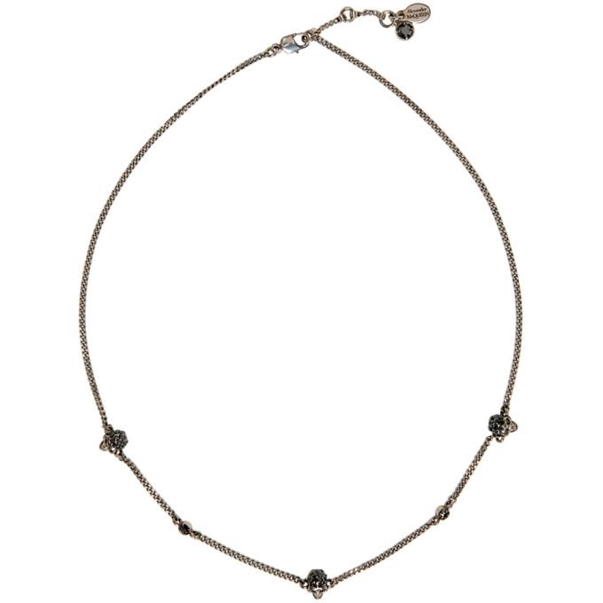 Alexander McQueen Silver Short Chain Skull Necklace