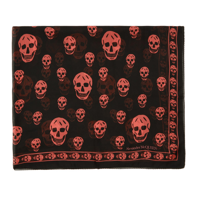 Alexander McQueen Black and Pink Classic Skull Scarf thumbnail