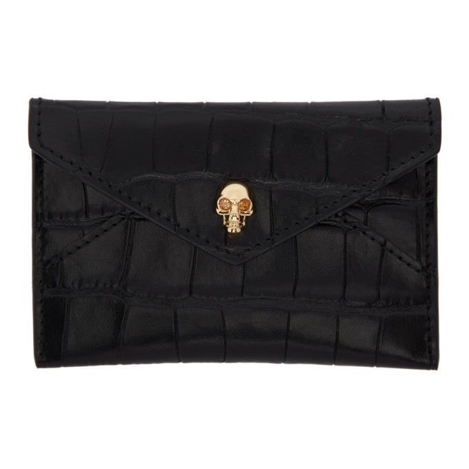 Alexander McQueen Black Croc Skull Envelope Card Holder thumbnail