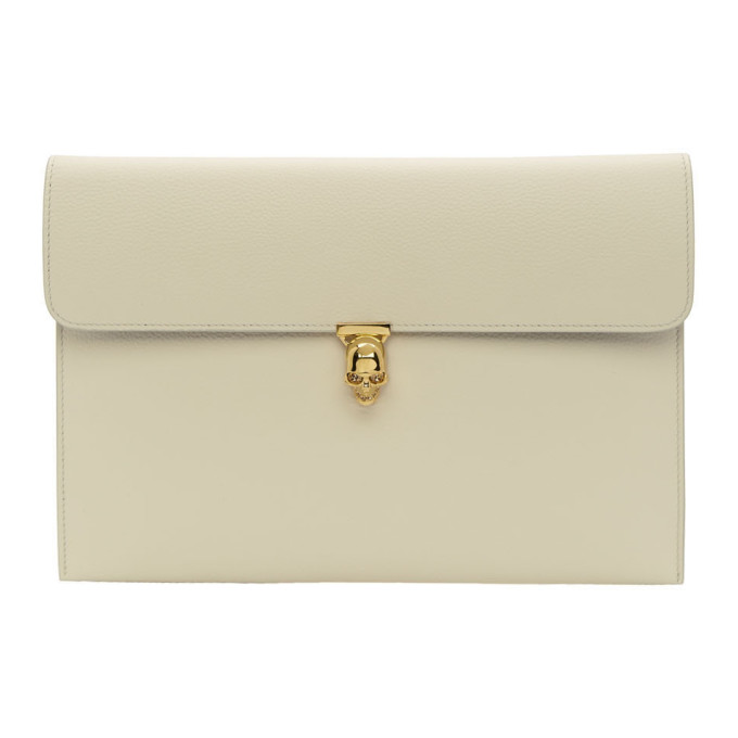 Alexander McQueen Off-White Skull Envelope Clutch