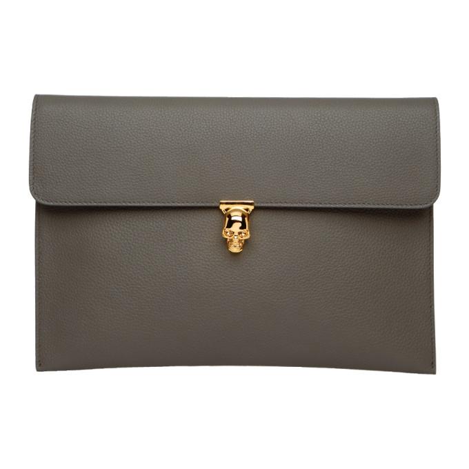 Alexander McQueen Grey Skull Envelope Clutch