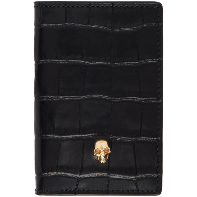 Alexander McQueen Black Croc Gold Skull Bifold Card Holder thumbnail