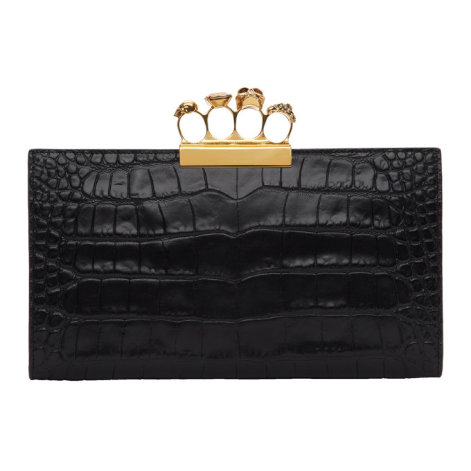 Alexander McQueen Black Croc Four Ring Clutch