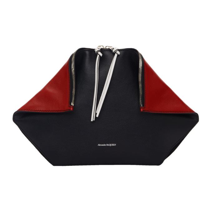 Alexander McQueen Black and Red Butterfly Pouch thumbnail
