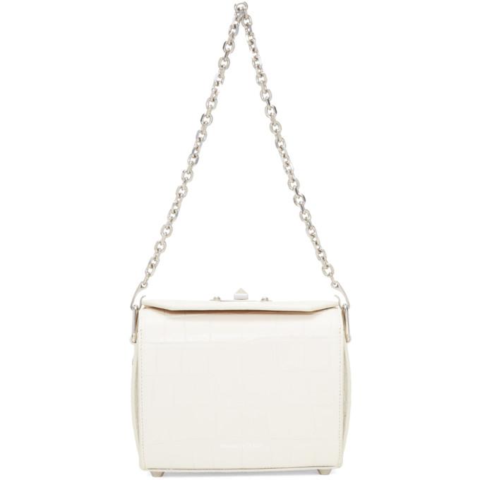 Alexander McQueen White Croc Box 19 Bag