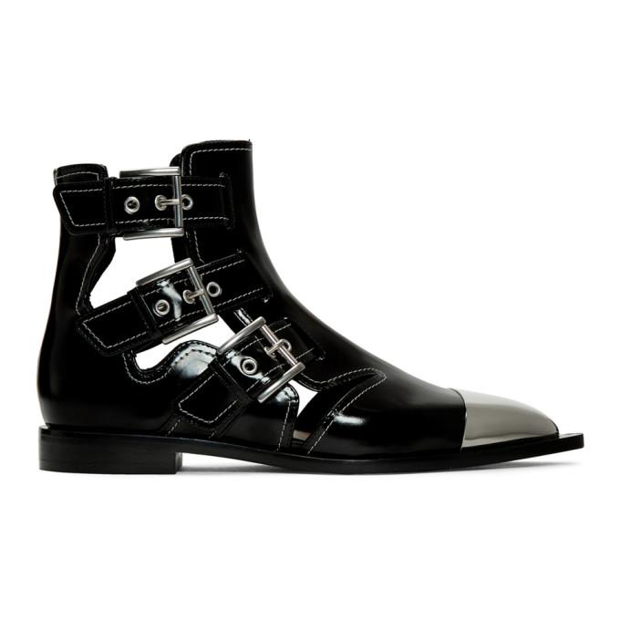 Image of Alexander McQueen Black Buckled Boots
