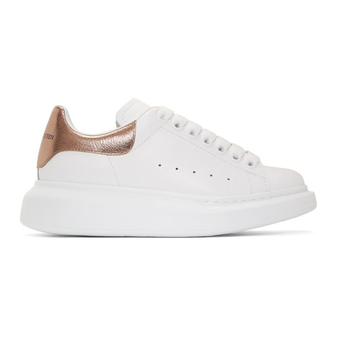 Alexander McQueen White & Rose Gold Oversized Sneakers